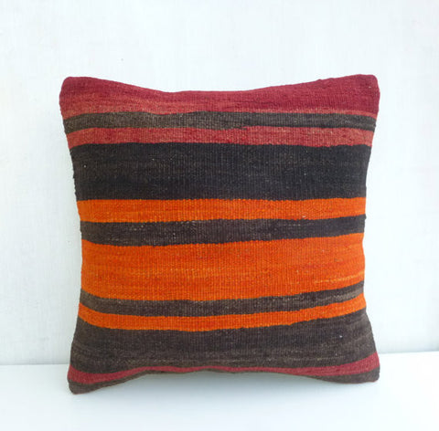 Dark brown & Tangerine Kilim Pillow Cover - Sophie's Bazaar - 1