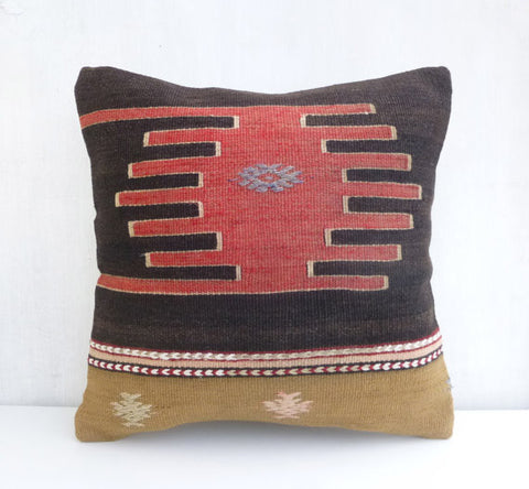 Kilim Pillow Cover with Ethnic medallion design