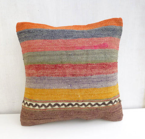 Striped colorful kilim throw pillow - Sophie's Bazaar - 1