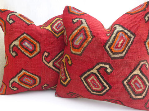 Pair of Red Paisley Kilim cushion covers - Sophie's Bazaar - 1