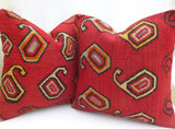 Pair of Red Paisley Kilim cushion covers - Sophie's Bazaar - 3