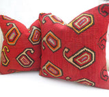 Pair of Red Paisley Kilim cushion covers - Sophie's Bazaar - 4