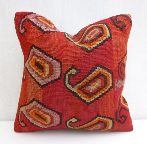 Red Paisleys Kilim Pillow cover - Sophie's Bazaar - 1