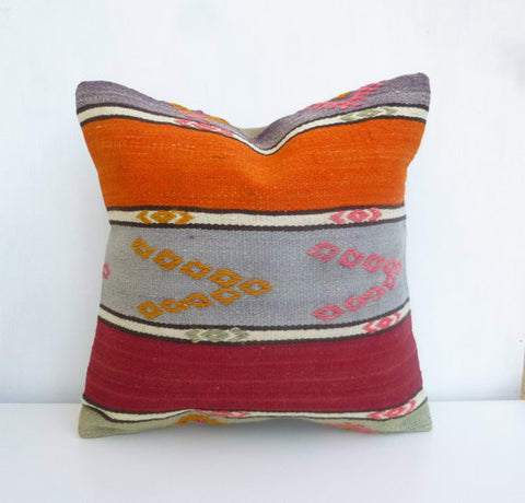 Decorative Kilim Throw cushion with Large Stripes - Sophie's Bazaar - 1