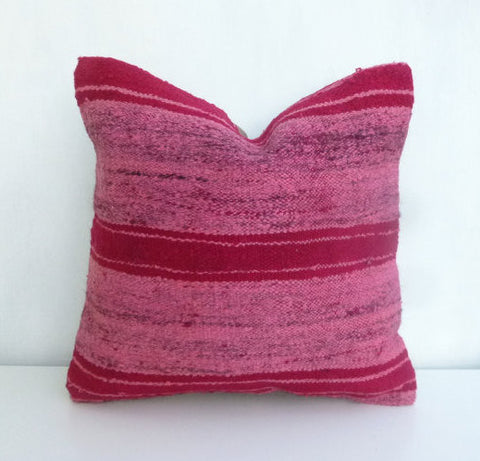 Pink Overdyed Kilim Throw Pillow - Sophie's Bazaar - 1