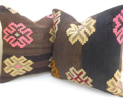 Brown Kilim Pillow set with large Flowers - Sophie's Bazaar - 1