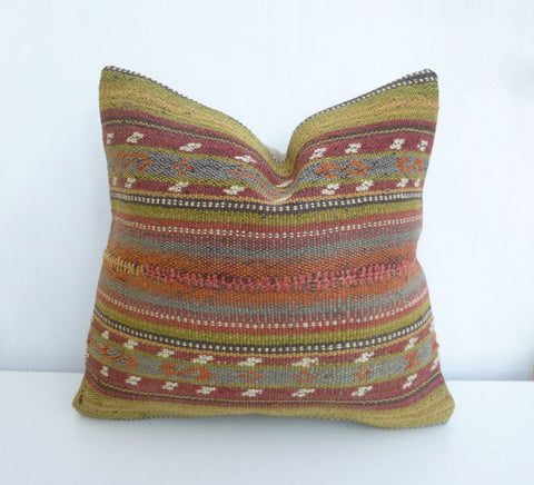 Vintage Kilim Throw Pillow with embroideries - Sophie's Bazaar - 1
