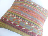 Vintage Kilim Throw Pillow with embroideries - Sophie's Bazaar - 5