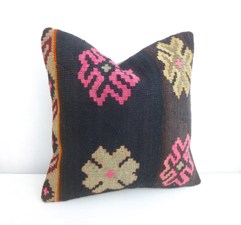 Brown Decorative Kilim Pillow with Large flowers - Sophie's Bazaar - 1