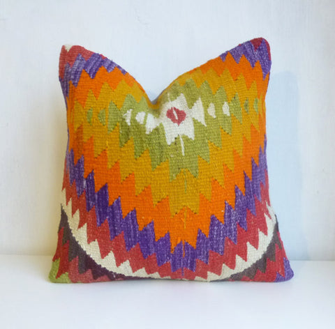 Bohemian Kilim Pillow with Colorful Chevron - Sophie's Bazaar - 1