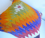 Bohemian Kilim Pillow with Colorful Chevron - Sophie's Bazaar - 5