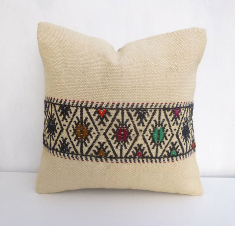 Cream Kilim Pillow cover with colorful ethnic embroideries - Sophie's Bazaar - 1