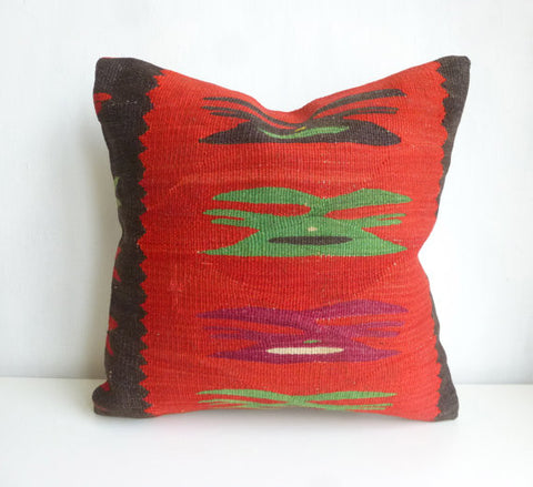 Red Kilim Pillow Cover with original ethnic pattern - Sophie's Bazaar - 1