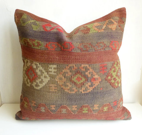 Large 20' Tribal Kilim Floor Pillow 50x50 cm - Sophie's Bazaar - 1