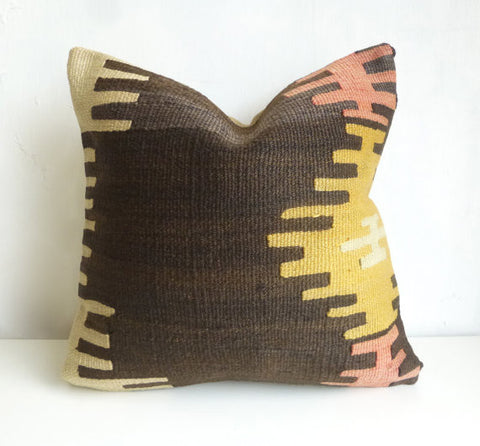 Brown & Yellow Ethnic Kilim pillow cover - Sophie's Bazaar - 1