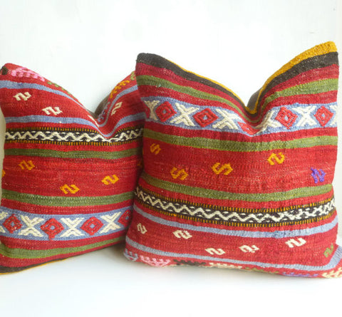 Red Ethnic Kilim Pillow Set - Sophie's Bazaar - 1