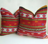 Red Ethnic Kilim Pillow Set - Sophie's Bazaar - 2