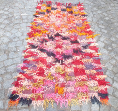 Small colorful Angora Tülü Rug, 5,6 x 3 feet - Sophie's Bazaar - 1