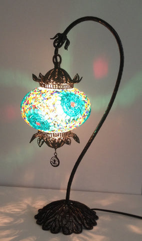 Decorative Handmade mosaic lamp with hand crafted copper base, Bedside night table lamp - Sophie's Bazaar - 1