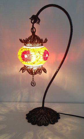 Turkish Mosaic Lamp with Hand Crafted Copper swan neck base - Sophie's Bazaar - 1
