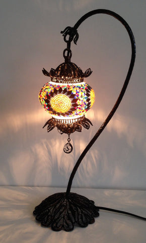 Mosaic Lamp with Hand Crafted Copper swan neck base - Sophie's Bazaar - 1