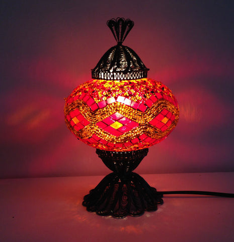 Turkish Mosaic Lamp with Hand crafted Copper Base - Sophie's Bazaar - 1