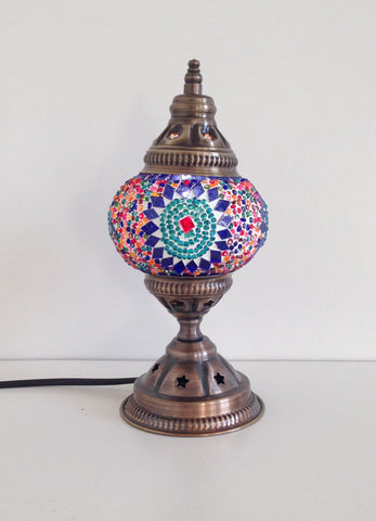 Small Colorful Mosaic lamp with vintage look metal base - Sophie's Bazaar - 1