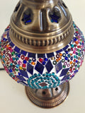 Small Colorful Mosaic lamp with vintage look metal base - Sophie's Bazaar - 5