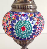 Small Colorful Mosaic lamp with vintage look metal base - Sophie's Bazaar - 3