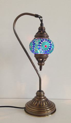 Royal Blue and Aqua Swan neck Mosaic Lamp - Sophie's Bazaar - 1