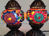 Pair of Small Colorful Turkish Mosaic Lamps - Sophie's Bazaar - 3