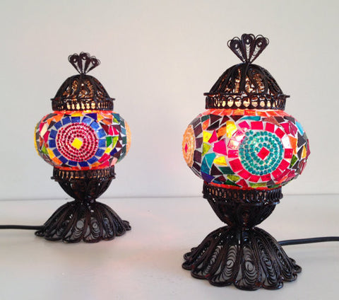 Pair of Small Colorful Turkish Mosaic Lamps - Sophie's Bazaar - 1