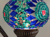 Royal Blue and Aqua Swan neck Mosaic Lamp - Sophie's Bazaar - 2
