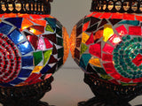 Pair of Small Colorful Turkish Mosaic Lamps - Sophie's Bazaar - 2