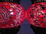 Pair of Small Pink Turkish Mosaic Lamps - Sophie's Bazaar - 3