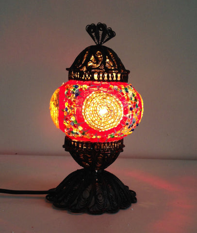 Small Turkish Mosaic Lamp with Hand crafted Copper Base - Sophie's Bazaar
