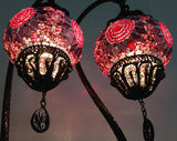 Pair of Exotic Bohemian Mosaic lamps with hand crafted copper base - Sophie's Bazaar - 2