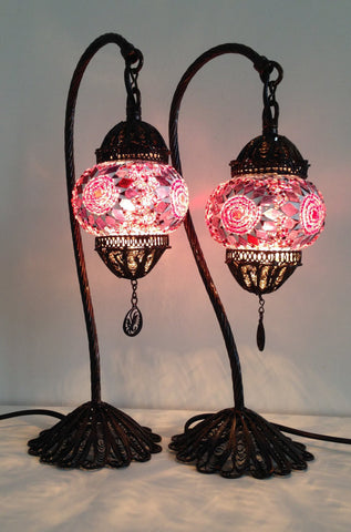Pair of Exotic Bohemian Mosaic lamps with hand crafted copper base - Sophie's Bazaar - 1