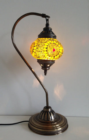 Yellow Exotic Swan neck Mosaic Lamp - Sophie's Bazaar - 1