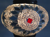 White & Silver Mosaic lamp with vintage look metal base - Sophie's Bazaar - 4