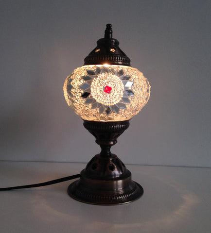 White & Silver Mosaic lamp with vintage look metal base - Sophie's Bazaar - 1