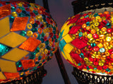 Pair of Colorful Bohemian Mosaic lamps with hand crafted copper base - Sophie's Bazaar - 4