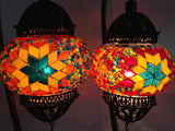 Pair of Colorful Bohemian Mosaic lamps with hand crafted copper base - Sophie's Bazaar - 5