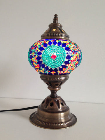 Royal Blue and Turquoise Mosaic lamp with vintage look metal base - Sophie's Bazaar - 1