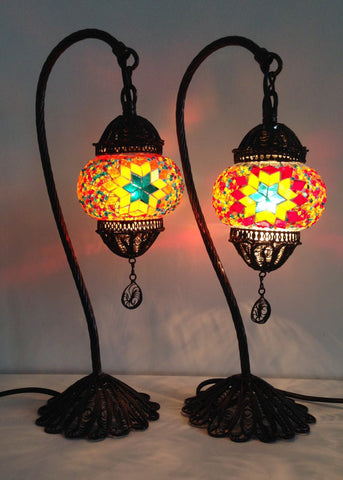 Pair of Colorful Bohemian Mosaic lamps with hand crafted copper base - Sophie's Bazaar - 1
