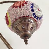 Traditional Turkish Mosaic Lamp with vintage style Swan neck metal base - Sophie's Bazaar - 5