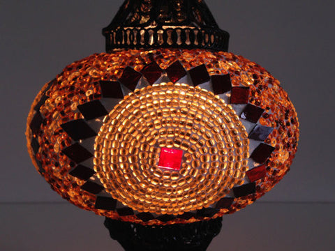 Golden Turkish Mosaic Lamp with Hand crafted Copper Base - Sophie's Bazaar - 1