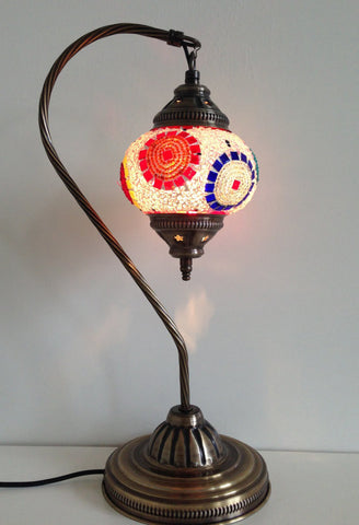 Traditional Turkish Mosaic Lamp with vintage style Swan neck metal base - Sophie's Bazaar - 1