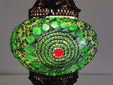 Green Turkish Mosaic Lamp with Hand crafted Copper Base - Sophie's Bazaar - 4