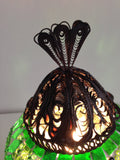 Green Turkish Mosaic Lamp with Hand crafted Copper Base - Sophie's Bazaar - 5